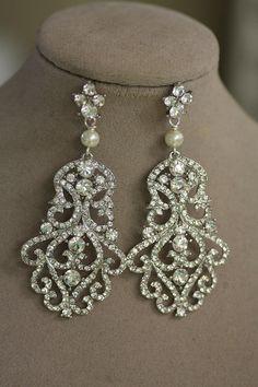 Bridal Earrings, Crystal Earrings, Rhinestone , Wedding Jewelry, Chandelier Earrings, Swarovski, Pearl Earrings, Drop Earrings, Filigree