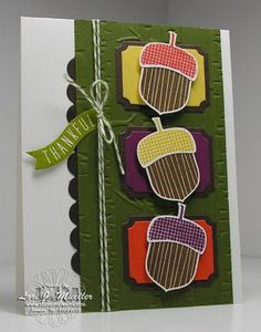 Stampin Up Acorny Thank you stamp set card, Acorn builder punch bundle. Leaf Cards, Bird Cards, Fall Cards, Christmas Cards, Pumpkin Cards, Thanksgiving Cards, Halloween Cards, Stampin Up Cards, Thank You Cards