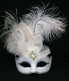 White Ostrich Feather Rhinestone Eye Mask Venetian Masquerade Ball Costume