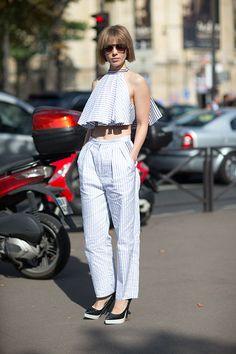 Paris Fashion Week Spring 2014 - Vika Gazinskaya. Stripes in street style