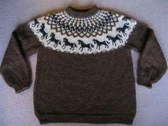 horse pattern Ravelry: Hestapeysa (Icelandic Sweater with Horses) pattern by Jhanna Hjaltadttir Fair Isle Knitting Patterns, Sweater Knitting Patterns, Knitting Charts, Knitting Designs, Knitting Sweaters, Knitting For Kids, Double Knitting, Ravelry, Icelandic Sweaters