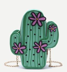 SheIn offers Green Cactus Shaped Crossbody Chain Bag & more to fit your fashionable needs. Unique Purses, Unique Bags, Cute Purses, Cute Mini Backpacks, Mode Kawaii, Novelty Bags, Diaper Bag Backpack, Diaper Bags, Crossbody Messenger Bag