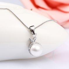 [$3.70] Snail Diamond Pendant (specification: Snail horn single pearl pendant, Purity: Sterling Silver)