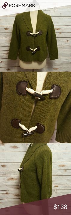 """J.Crew olive half sleeve cardigan Olive green cardigan with cowl collar and toggle closure on front, with leather accents. Cropped cardigan. Half sleeves. Toggles shows some natural wear. Some pilling due to nature of fabric.  Bust- 19"""" flat Length- 20""""  55% wool, 30% nylon, 15% cashmere J. Crew Sweaters Cardigans"""