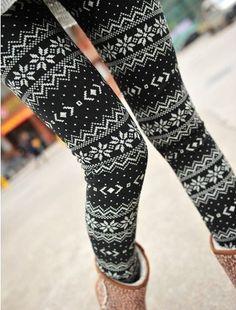 Snowflake Footless Pantyhose Legging