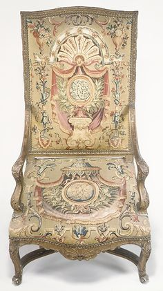 Armchair,  Tapestry woven at: Royal Manufactory, Beauvais  After a design by: After a design by Jean Berain (French, Saint-Mihiel 1640–1711 Paris) Date: 1715–20