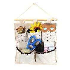 USD $ 5.19 - Creative Beige Flax Dot Pattern 5-Compartment Hanging Bags, Free Shipping On All Gadgets!