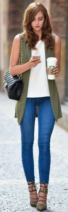 #fall #street #trends | Olive + White + Denim