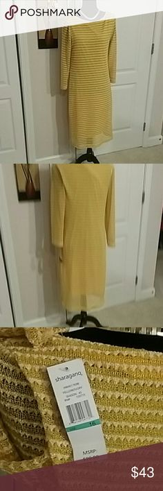 Sharagano beautiful yellow/ Ivory  dress Size 14-16 New  Pretty color yellow /Ivory  Lining on the inside of the dress  Hand washable  Stretch material sharagano  Dresses Midi
