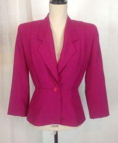 Stirling Cooper Vintage Blazer Coat Jacket Shoulder Pads Magenta Small Waist 4 #StirlingCooper