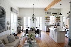 decorating and paint colour ideas for rustic, farmhouse or country style great room, kitchen and more