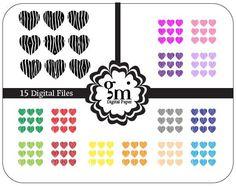 Zebra Heart Clip Art, Heart Clipart, Zebra Clipart,  Zebra Digital Paper, Zebra Paper, Zebra Pattern, Digital Background, Instant Download - pinned by pin4etsy.com