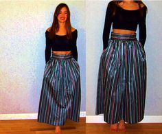Vintage Lord and Taylor Striped Maxi Skirt with Pockets, Small, green pink blue yellow white black