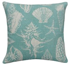 Aqua Sea Shell Linen Beach House Pillow - I'm going to design an entire ROOM around this fabric...someday soon!