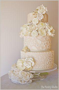 Beautiful!     Wedding Cake Design-The Pastry Studio  Wedding & Reception-Casa Monica Hotel  Image by: Sherri Meyers
