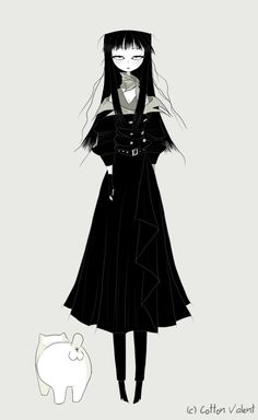 Meawbin the Creepy Cat - Cotton Valent Creepy Cat, Yandere Anime, Dark Drawings, Kawaii Doodles, Arte Pop, Beautiful Anime Girl, Cultura Pop, Gothic Art, Fantastic Art