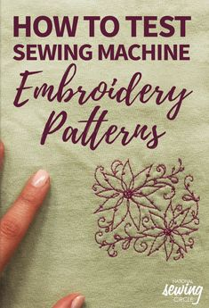 Testing Sewing Machine Embroidery Patterns Old T-shirts make a great piece of fabric for testing out your sewing machine stitches. In this video, Leah Rybeck demonstrates a quick and easy trick for te Sewing Machine Stitches, Machine Embroidery Projects, Machine Embroidery Applique, Learn Embroidery, Embroidery Stitches, Hand Embroidery, Embroidery Ideas, Brother Embroidery Machine, Babylock Embroidery Machine