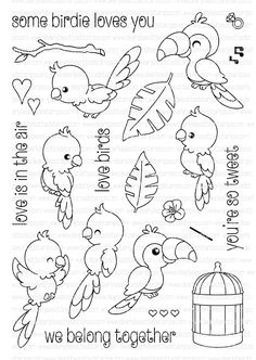 Clearly Besotted SOME BIRDIE LOVES YOU Clear Stamp Set  zoom image