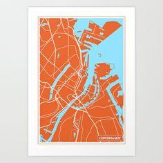 Copenhagen Map, Denmark Map, Printable Frames, Map Art, Art Reference, Maps, Poster, Art Prints, Studio