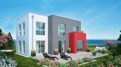 Die Kubatur dieses Einfamilienhauses ist ungewöhnlich und interessant: drei Rechtecke, ineinander verschachtelt. Und jedes Rechteck darf sich in anderer Fassadenfarbe zeigen: rot, Anthrazit und Weiß.