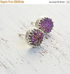 SALE Dainty earringspurple druzydruzy earringsdelicate by Avnis