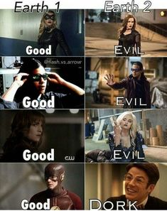 Why are all the good guys from earth 1 bad on earth 2 << Because this Is the Flash Superhero Shows, Superhero Memes, Dc Memes, Funny Memes, Jokes, Hilarious, Marvel Dc, Marvel Comics, Flash Tv