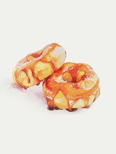 Donuts by Ava  甜品插画-蜜汁甜甜圈_涂鸦王国 原创绘画平台 www.poocg.com