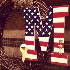 Support our Troops personalized door wreath. Love this!