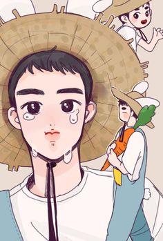 Christian D.O the Farmer Kyungsoo, Cute Bunny Pictures, Exo Anime, Exo Fan Art, Kpop Fanart, Boy Art, Anime Style, K Idols, Cute Art