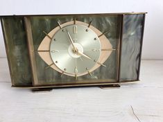 Vintage 1950s Clock - Mantel Clock - English Clock with a Metamec Movement Made in France - 8 Day Clock - 1950s Clock Brass - Wind Up Clock