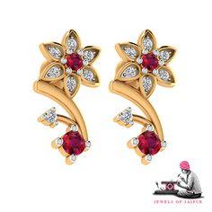 Old world charm with a blush of modern hues!  #Handcrafted #Handmade #Earrings #Ruby #Diamond #ShopOnline #JOJ #PinkCity #Jaipur