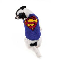Superman Dog Costumes DC Comics Superheroes Handmade Crochet Knit Cat Shirts Chihuahua Puppy Clothes DF63 By Myknitt - Free Shipping