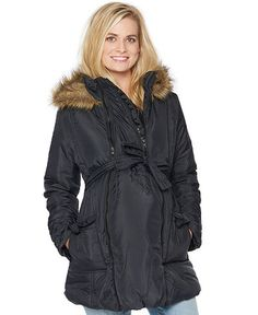 fa1d1ef9947 Modern Eternity Hooded Belted Puffer Coat Maternity Jacket