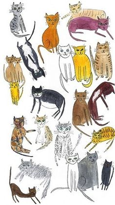 Andy Warhol illustration of cats, from Warhol's early days as a commercial illustrator.