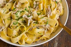 White Wine and Garlic Braised Chicken Pappardelle  (can make in crockpot)