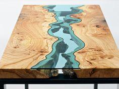 Mesas de madera incrustadas con ríos y lagos de vidrio - Taringa!