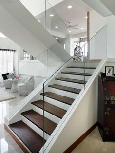 Love the glass handrails on this flight of stairs...the contrast between the white sides and dark stained risers makes a real design statement!  www.franksglass.com
