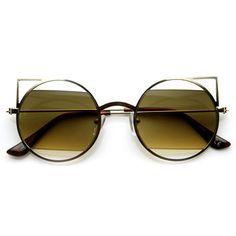 Women's Round Metal Laser Cut Cat Eye Sunglasses 9122