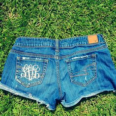 make your own monogrammed shorts! use an iron on monogram from sunshine vinyl, its only $5!