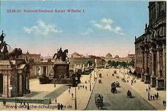 Kolorierte Postkarte mit Schlossfreiheit und Nationaldenkmal für Kaiser Wilhelm I., um 1900/1910