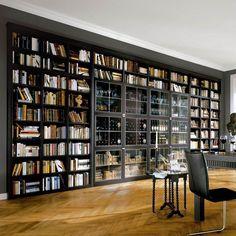 Home Library Decor, Home Library Design, Home Libraries, Home Office Design, House Design, Large Bookshelves, Library Bookshelves, Billy Bookcases, Bedroom Decor Lights