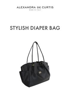 Are you looking for a stylish leather diaper bag? Click through to check out this designer diaper bag handmade in Italy! Alexandra de Curtis #leatherbags #designerleatherbag #diaperbag Italian Leather Handbags, Designer Leather Handbags, Black Leather Handbags, Leather Diaper Bags, Italian Street, Changing Bag, Baby Diaper Bags, How To Make Handbags, Italian Fashion