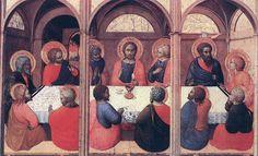 Sassetta (Stefano di Giovanni, 1394-1450) : la dernière Cène. 1423. Panneau du retable de l'Eucharistie (ou dell'Arte della Lana). Bois, 24 x 38 cm. Sienne, Pinacoteca Nazionale.