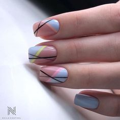 current trends of very beautiful nail design 14 ~ thereds.me : current trends of very beautiful nail design 14 ~ thereds. Line Nail Designs, Acrylic Nail Designs, Best Nail Art Designs, Chic Nails, Stylish Nails, Nail Manicure, Gel Nails, Nagellack Design, Lines On Nails