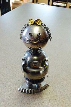 robot sculptures, found object art, robot sculpture, metal robots, robots, robot, bots, girl robots, collectors doll, art doll - Belle