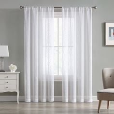 Beatrice Cleo Sheer Textured Window Curtains Rod Pocket Drapes, White – Window Treatments – Home & Kitchen Window Curtain Rods, Window Panels, Window Curtains, White Curtains, Curtain Length, Types Of Curtains, Kitchen Window Treatments, Rod Pocket