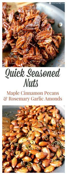 Quick Seasoned Nuts- a sweet and savory option. Both made in under 10 minutes with only a few ingredients. Paleo, gluten free, dairy free, and vegan. Perfect for Christmas!