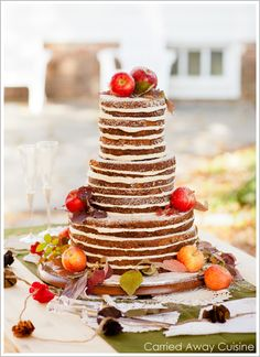 Unfrosted Rustic Wedding Cake