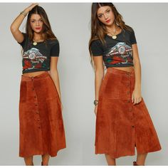 Vintage 70s Suede Skirt Caramel Boho Leather Patchwork Festival Midi ($55) ❤ liked on Polyvore featuring skirts, leather skirt, leather midi skirts, knee length flared skirts, brown leather skirts and suede midi skirt