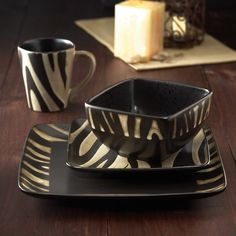 The Safari Zebra White 16 Piece Dinnerware Set gives you table service for four with matching zebra print dinner plates, salad plates, bowls,. Dinnerware Sets For 8, Square Dinnerware Set, White Dinnerware, Casual Dinnerware, Black And White Dining Room, Zebra Decor, Safari Decorations, White Zebra, Black White